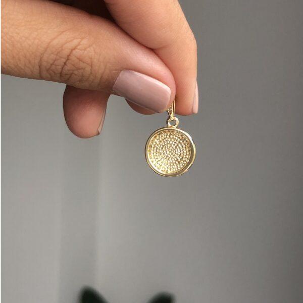 Dije Fe Redondo Circonias 1.3cm_$60