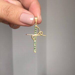 Dije Cruz Fe 2x4cm verde_$70